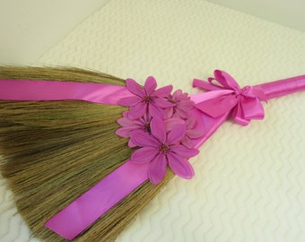 SALE!! Decorated Jump Broom for Jumping the Broom Ceremony  (Fuchsia Ribbon / Purple Daisies) - **Please Read Ad for Details!