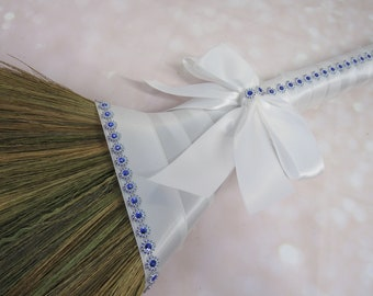 White Wedding Broom with Bling for Jumping The Broom Ceremony -  (White Ribbon / Purple Bling) *PLEASE READ AD for Details