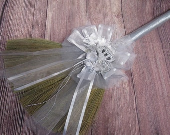 Cinderella Carriage Theme Wedding Jump Broom for Jumping The Broom Ceremony -  (Silver Ribbon) *PLEASE READ AD for Details
