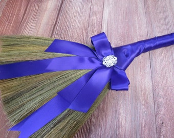 Bow and Broach Wedding Broom for Jumping The Broom Ceremony (Purple Ribbon) **PLEASE READ AD for Details! Simple Elegance with Bling!