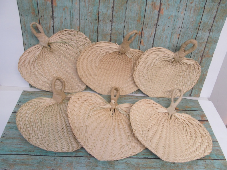 Raffia Fans Small 7  SMALL Palm Leaf Fan Hand Fan image 0