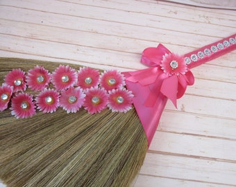 SALE!! Decorated Jump Broom with Bling for Jumping the Broom Ceremony  (Pink Ribbon / Pink Daisies) - **Please Read Ad for Details!