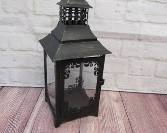 Vintage Lantern for Wedding Decorations, Table Decorations - Black Rustic Farmhouse Lantern (Please read Ad for Details/Dimensions)  *#107