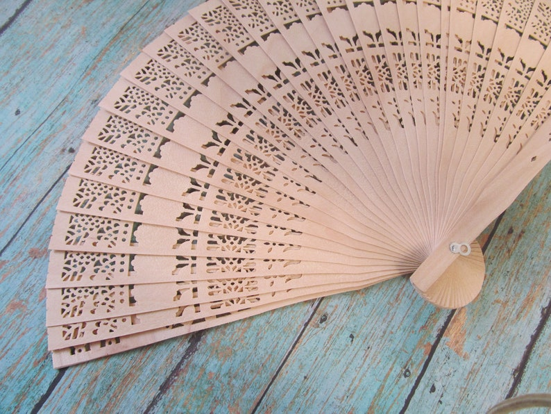 Wooden Hand Fans  Great for Beach Weddings Bridesmaids image 0