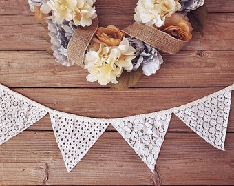 White and parchment lace banner or bunting - perfect for rustic weddings, parties or photo backdrops!