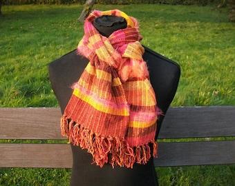 handwoven scarf brown orange red purple