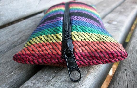 étuis à crayons tissés à la main, sacs pour goupilles, 3 Rainbows sur multi noir, coloré, pour stylos droit peu de choses dans un sac à main, boho