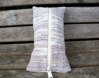 Pencil case handwoven purple beige white, pastel, hand dyed cotton chenille, for pens, for crimedrama, ooak