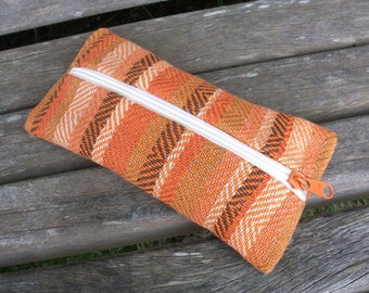 Handwoven girl for pens and trifles, terracotta coffee beige pumpkin, linen cotton, for organizing in the handbag