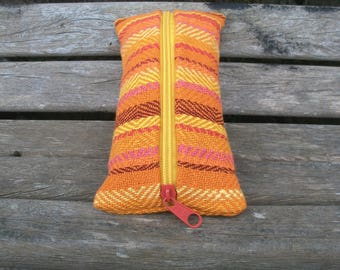 handwoven pencil case for pencils and trifles, orange yellow red pink, pumpkin, linen cotton, for organizing in the handbag, ooak