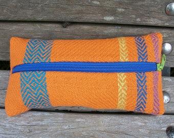handwoven pencil case for pencils and trifles, orange blue purple green, pumpkin, linen cotton, for organizing in the handbag