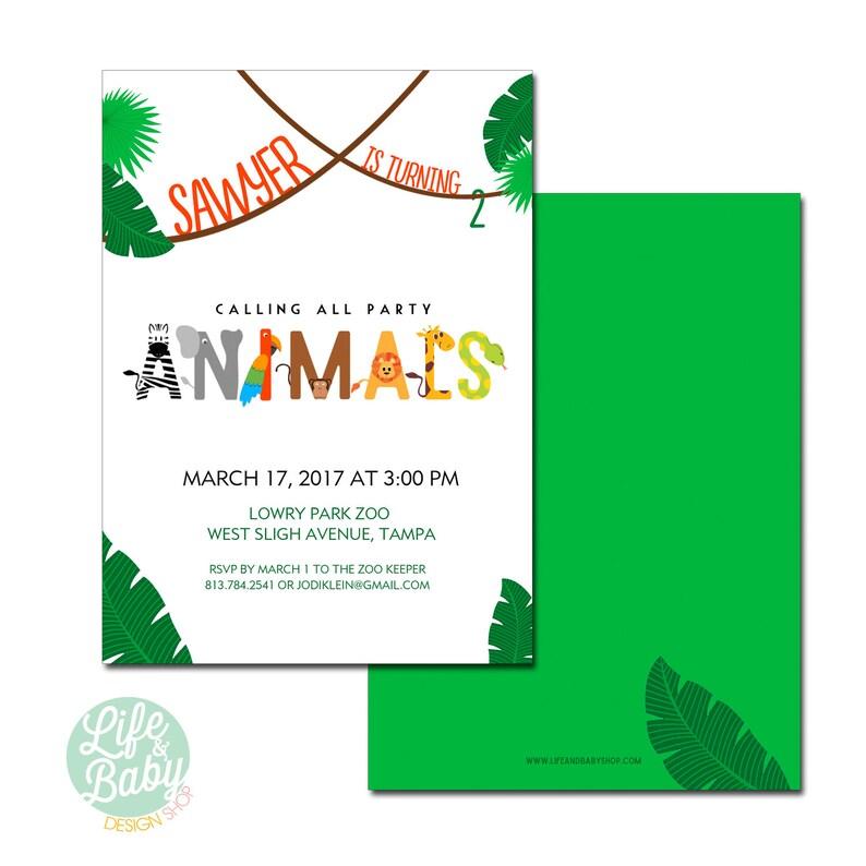Party Animal Birthday Invitation  Zoo Birthday Invitation  image 0