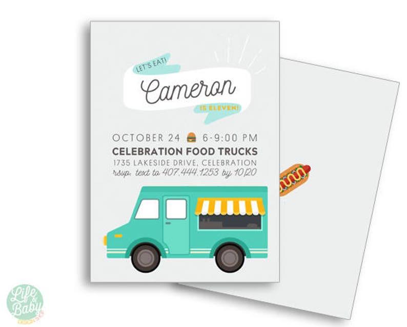 Food Truck Invitation  Food Truck Birthday  Tween Birthday image 0