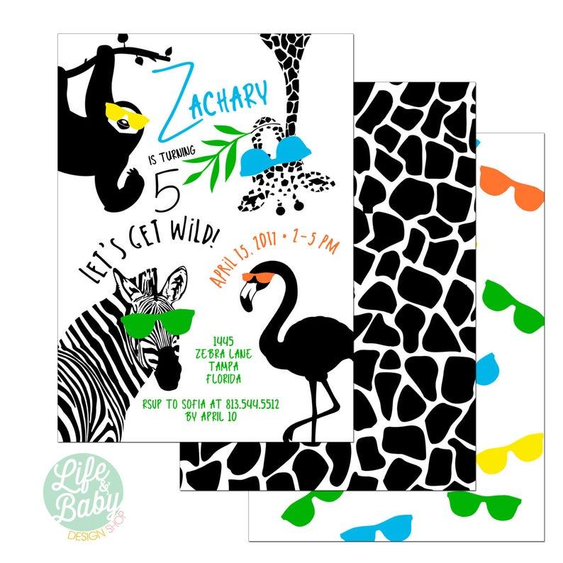 Party Animal Invitation  Wild One Invitation  Zoo Birthday image 0