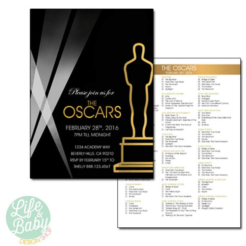 Oscar Party Invitation Oscar Invitation Academy Awards Etsy