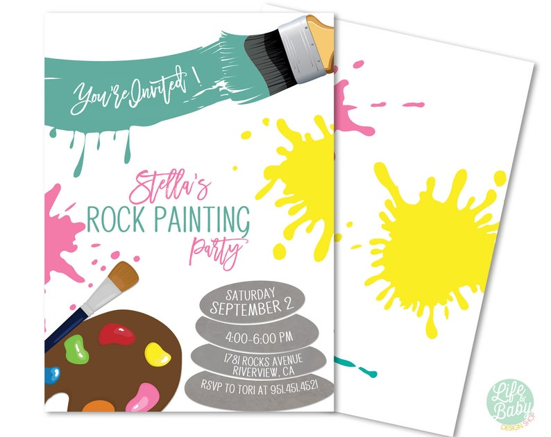 Rock Painting Invitation  Rock Painting Party Invitation  image 0