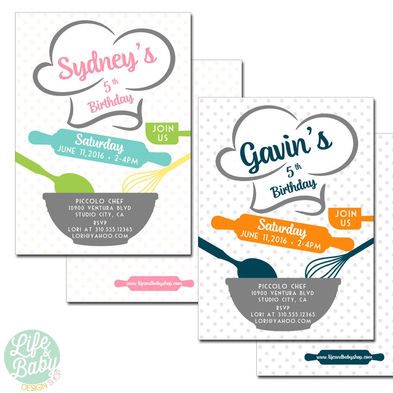 Baking Birthday Party Invitation  Cooking Party Invitation  image 0