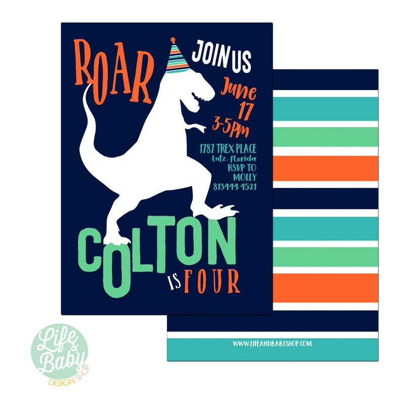 Dinosaur Birthday Invitation  Dinosaur Invitation  TRex image 0