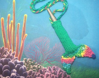 Teal&Rainbow Micro Mermaid Tail knit vaporizer case vape lanyard dab pen pouch necklace