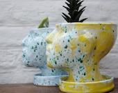 Yellow Glazed Ceramic Planter / Face Plant Pot / Flower Pot with Drainage