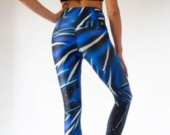 40c605cbe6216 Ladies Electric Blue Yoga Leggings / Eco-friendly Yoga Leggings Made With  Recycled Nylon / SUP and Surf Leggings