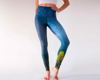 64b25613504b63 Autumn Stars Yoga Leggings / Eco-Friendly Made from Recycled Nylon / High  Waisted with Gusset