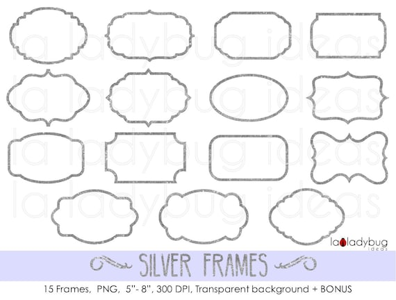 Silver frames. Silver glitter frames. Silver foil frames. Digital ...