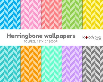 Herringbone wallpaper, herringbone background, herringbone digital paper. 10 colors, JPEG files.  Instant download.