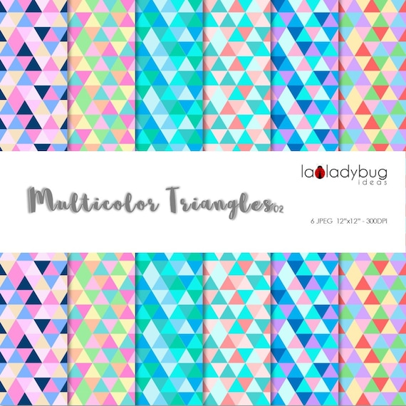 Geometric Wallpaper Multicolor Triangle Digital Paper Etsy