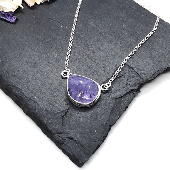 Tanzanite Necklace, Sterling Silver with Free Form Natural Tanzanite
