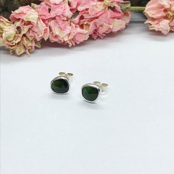 Green Tourmaline Stud Earrings, Sterling Silver, Asymmetrical