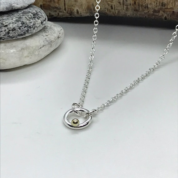Mini Circle Necklace with Gold Pebble,  Tiny Circle Sterling Silver