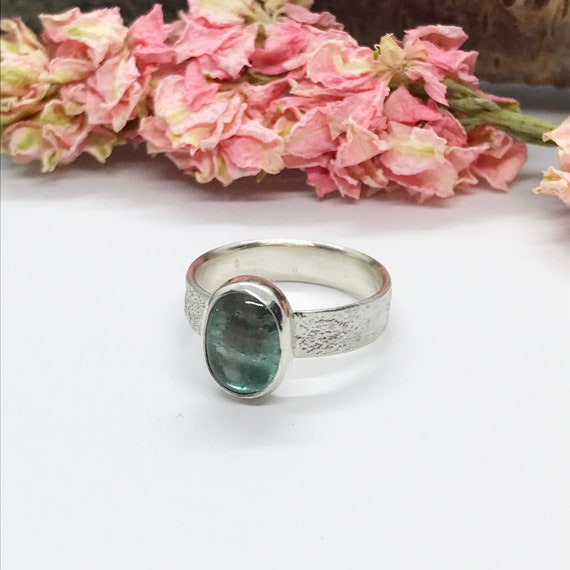 Turquoise Tourmaline Ring, Wide Band Textured Sterling Silver Ring