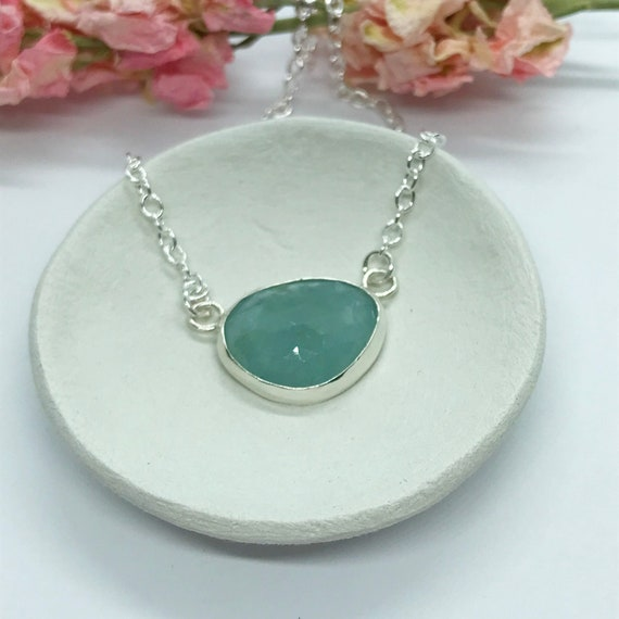 Blue Aquamarine  Necklace, Sterling Silver with Free Form Natural Aquamarine, Birthday Gifts