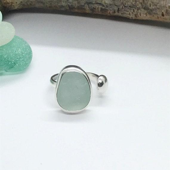 Sea Glass Ring, Aqua Seafoam Adjustable Sterling Silver Ring, Natural Sea Glass