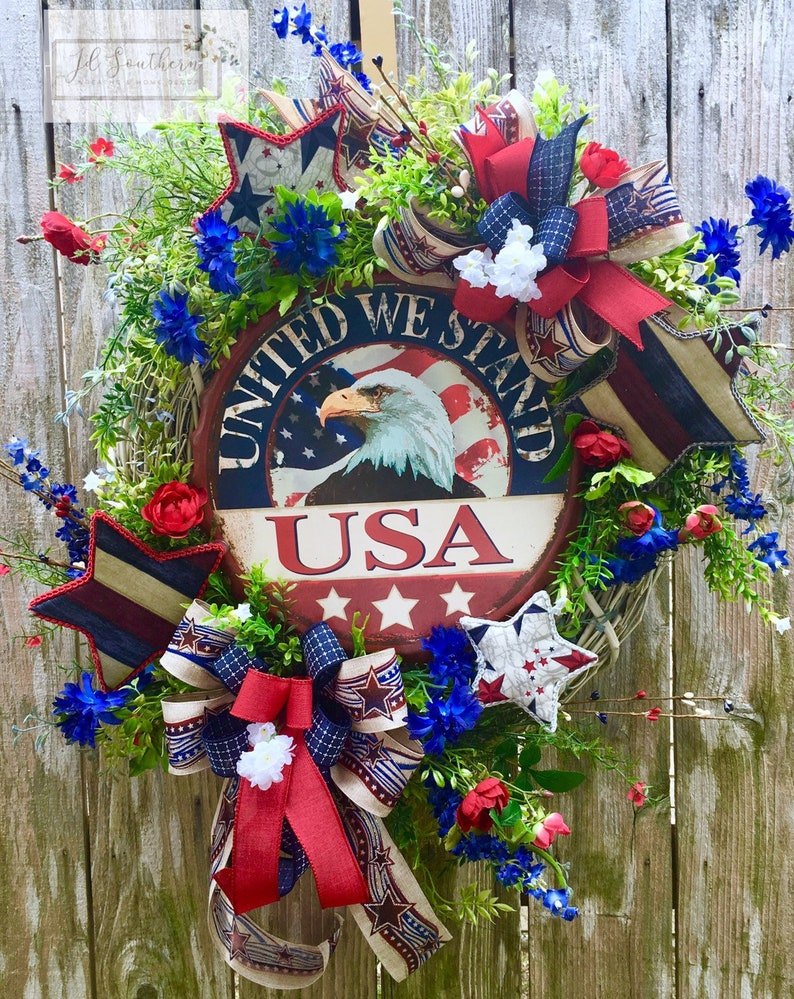 Patriotic Wreath,Memorial Day Wreath Patriotic Decor Independence Day Wreath 4th of July Wreath