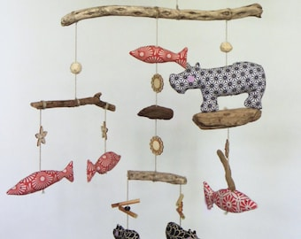 Hippos and fish mobile