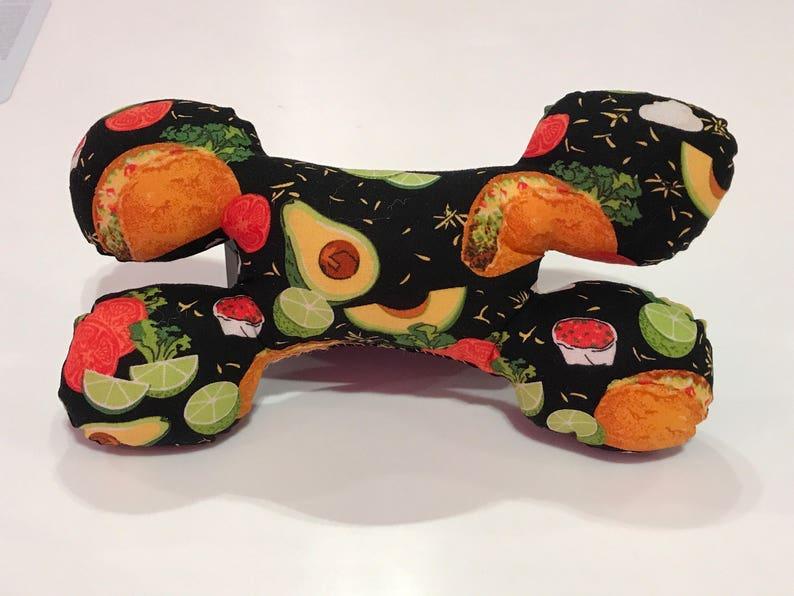 Taco Avocado Bone Shaped Squeak Dog Toy image 0