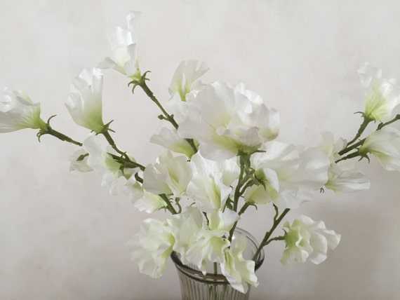 White sweet pea silk flower bush artificial faux silk wedding white sweet pea silk flower bush artificial faux silk wedding flowers 22 tall from flowerfantasee on etsy studio mightylinksfo
