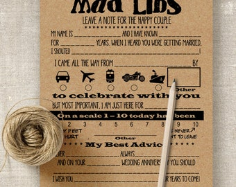 Mad Libs, Printable Wedding templates, rustic wedding games and activities, G101