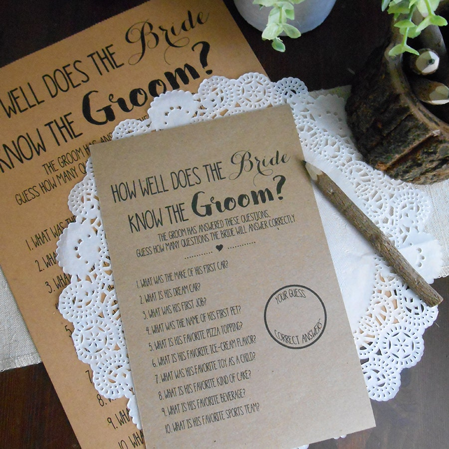 How Well Does The Bride Know The Groom Bridal Shower Game