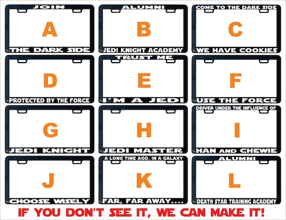 Join The Dark Side license plate frame Star Assorted Jedi   Etsy