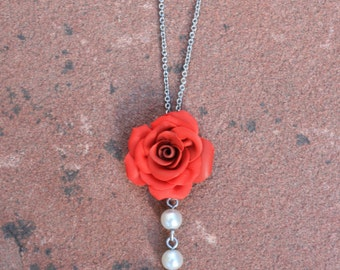 Vintage Rose and Pearl Necklace