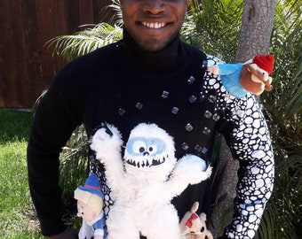 Bumble in his ice cave ...Tacky, ugly, funny, Bumble snow monster, Rudolph,  holiday, christmas sweater,  mens sz medium to large