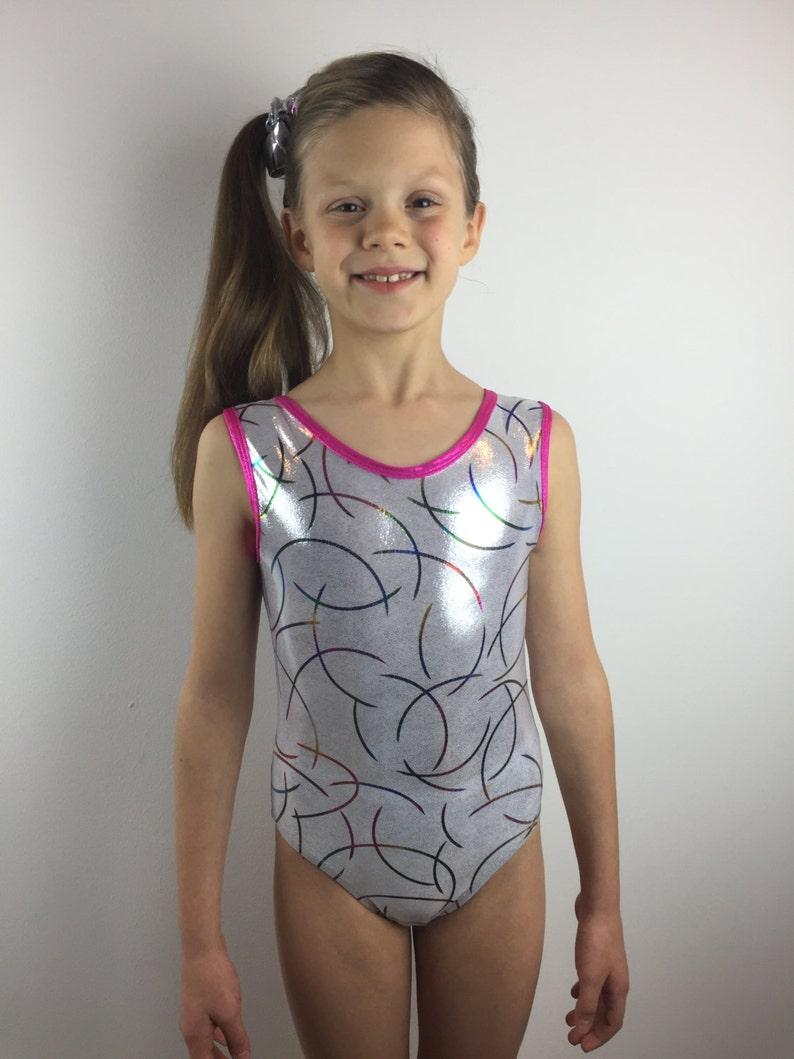 New girls gymnastic leotard metallic black//silver  animal