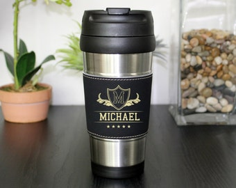 Leather Travel Mug, Leather Coffee Mug, Personalized Travel Mug, Personalized Coffee Mug, Coffee Mug, Custom Travel Mug --TM-BLTH-Michael