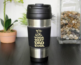 Leather Travel Mug, Leather Coffee Mug, Personalized Travel Mug, Personalized Coffee Mug, Coffee Mug, Custom Travel Mug --TM-BLTH-YODABEST