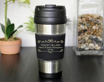 Leather Travel Mug, Leather Coffee Mug, Personalized Travel Mug, Personalized  Mug, Coffee Mug, Custom Travel Mug --TM-BLTH-TRACEYHILLARD