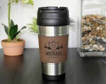 Leather Travel Mug, Leather Coffee Mug, Personalized Travel Mug, Personalized Coffee Mug, Coffee Mug, Custom Travel Mug --TM-DBLTH-CRAFTY3