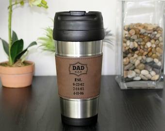 Leather Travel Mug, Leather Coffee Mug, Personalized Travel Mug, Personalized Coffee Mug, Coffee Mug, Custom Travel Mug --TM-DBLTH-DADEST